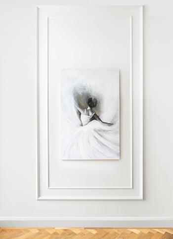 Obraz akrylowy ręcznie malowany na płótnie bawełnianym, zabezpieczony matowym werniksem.Obraz pochodzi z serii Baletnica.