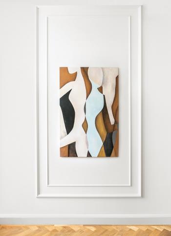 Obraz akrylowy ręcznie malowany na płótnie bawełnianym, zabezpieczony matowym werniksem.Obraz pochodzi z serii Abstrakcje.