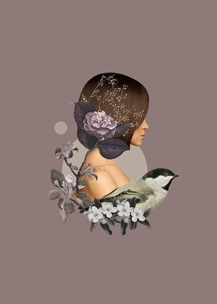 Kolaż Sparrow Girl, Plakat Autorski - 1