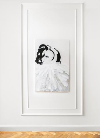 Obraz akrylowy ręcznie malowany na płótnie bawełnianym, zabezpieczony matowym werniksem.Obraz pochodzi z serii Kobieta.