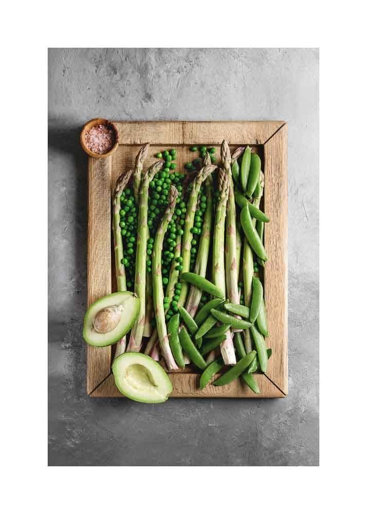 Zielone Warzywa Na Drewnianej Desce, Plakat - 1