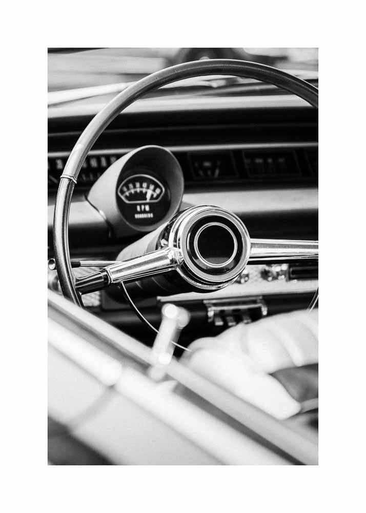 Kierownica Samochodu Retro, Plakat - 1
